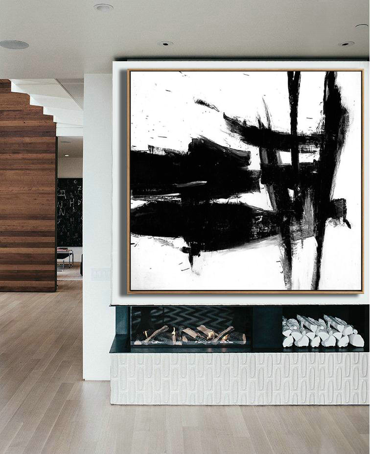 Black and White Large Art, Black White Canvas Art, Black and white decor, Black White Minimal Art, Large Decor Painting, Large Wall Art, Art