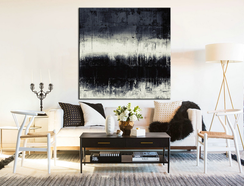 Black and White, Minimal Art, Black and White Painting, Oil Large Art, Large Minimal Art, Abstract wall decor, Minimal Large Art, Painting