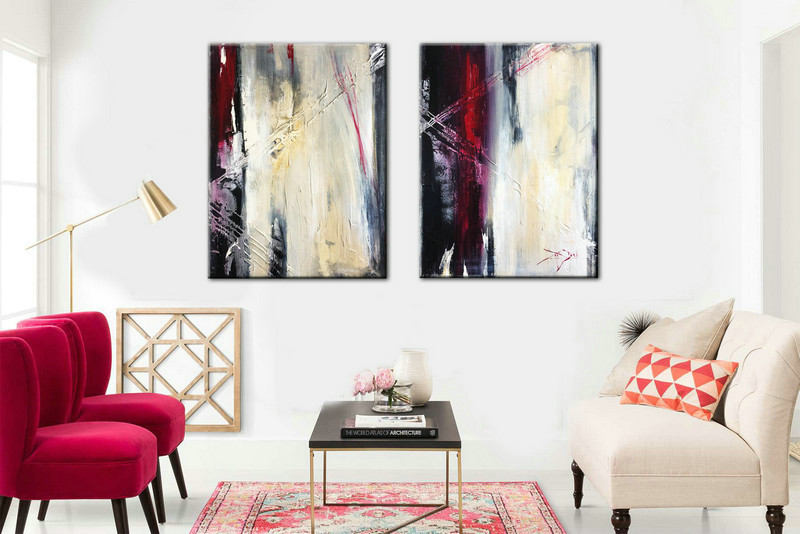 Set of 2 Abstract Painting, Contemporary Art, Original Artwork, Office Decor, Canvas Set of 2, Art, Painting, Abstract Painting, Acrylic