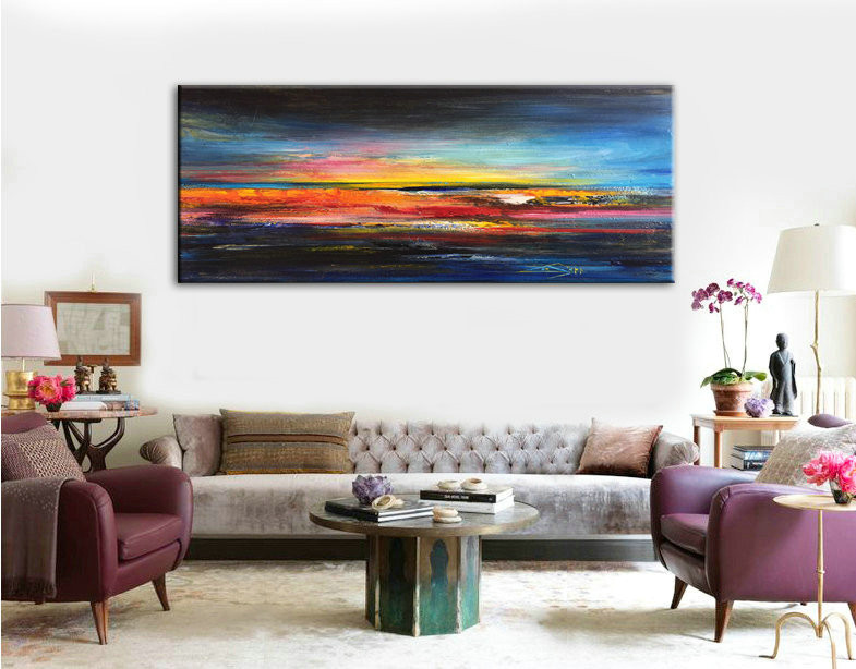 Abstract Art, Abstract Painting, Oil Abstract Art, Large Art, Canvas art, Sunset Abstract Art, Oil Painting, Large Decor Art, Wall decor