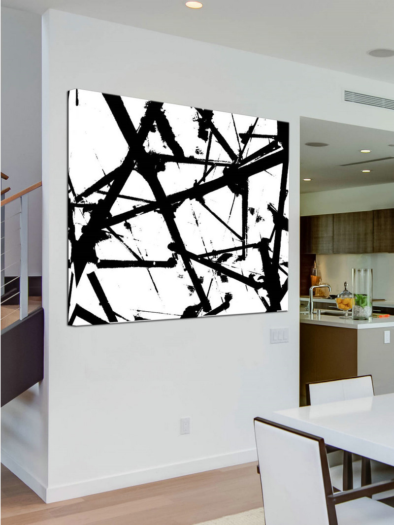 Original Large Abstract Art Painting On Canvas Black and White wall art Large Square Acrylic Painting On Canvas Minimalist Abstract Painting