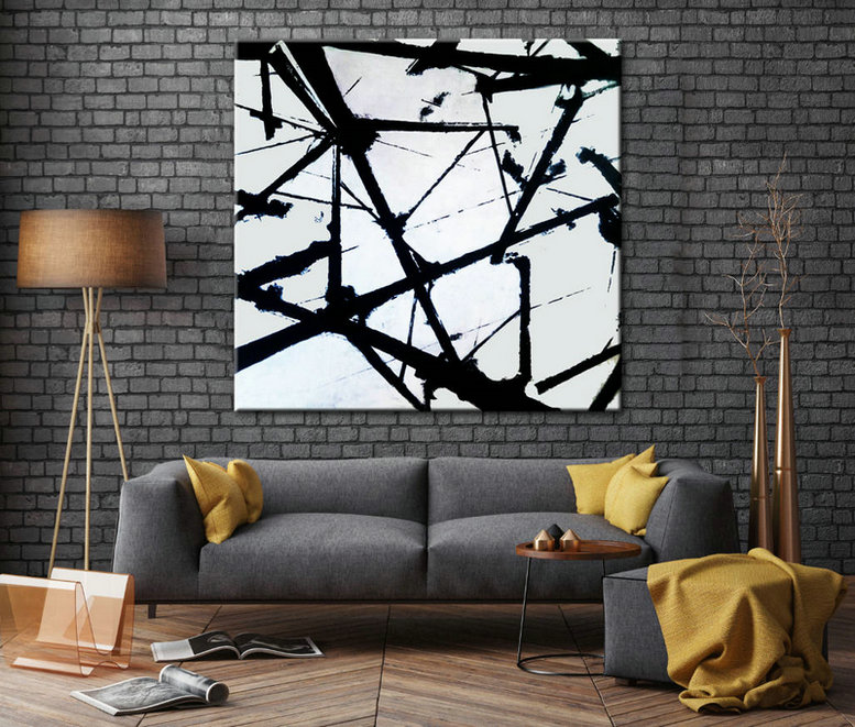 Black and White Art, Oil Large Art, Palette knife, Canvas Painting, Original Art, Oversize art, Black and White wall art, Painting abstract