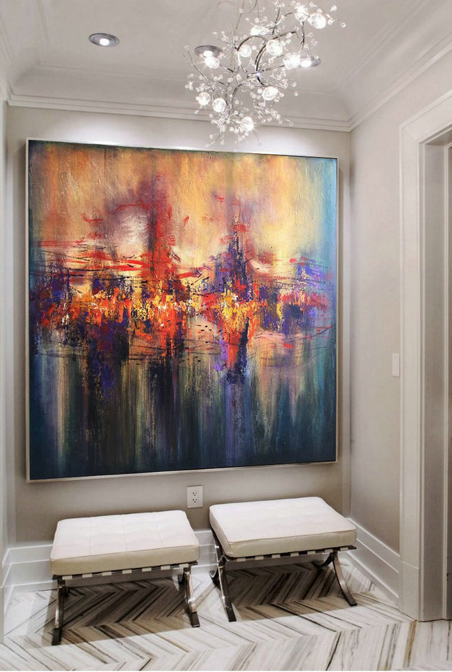 Large Wall Art, Painting On Canvas, Abstract Landscape, City on river, Evening light, Acrylic painting, Canvas, Abstract Decor Art