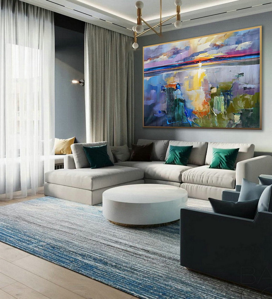 Extra Large Modern Seascape Bright Color Brush Stroke Oversize Horizontal Colorful Sea Wall Art Handmade Oil Painting On Canvas