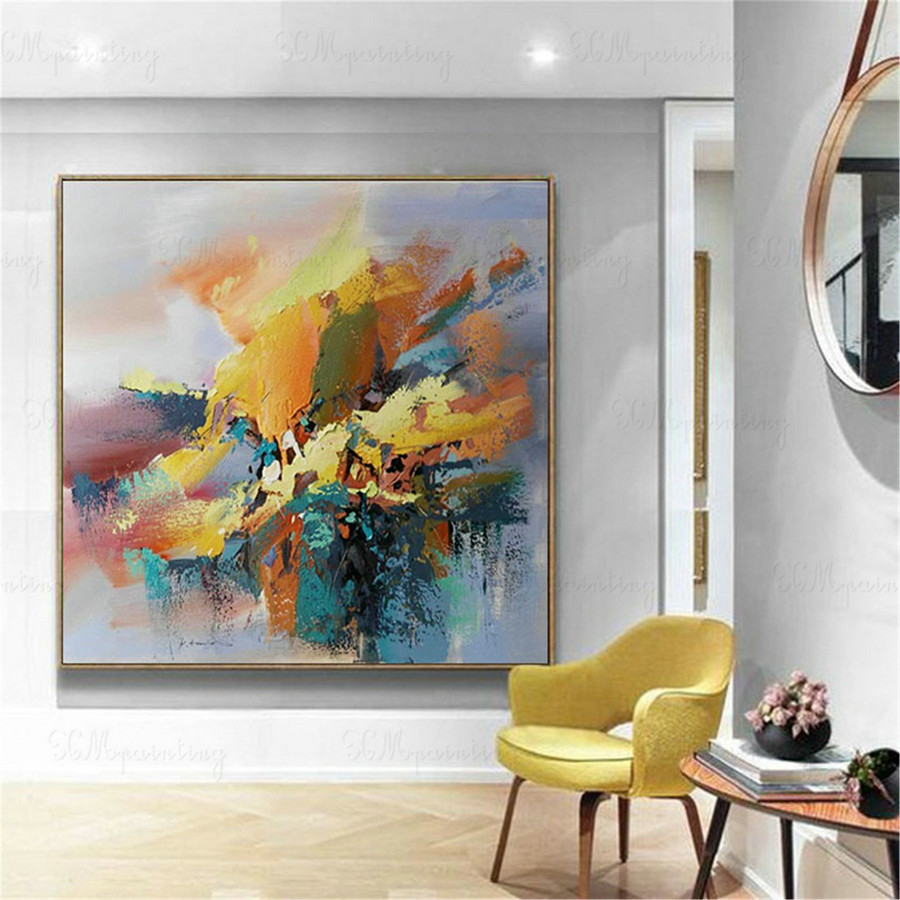 Original abstract painting on canvas wall art picture for living room home decoration blue gold art acrylic thick texture peinture abstraite