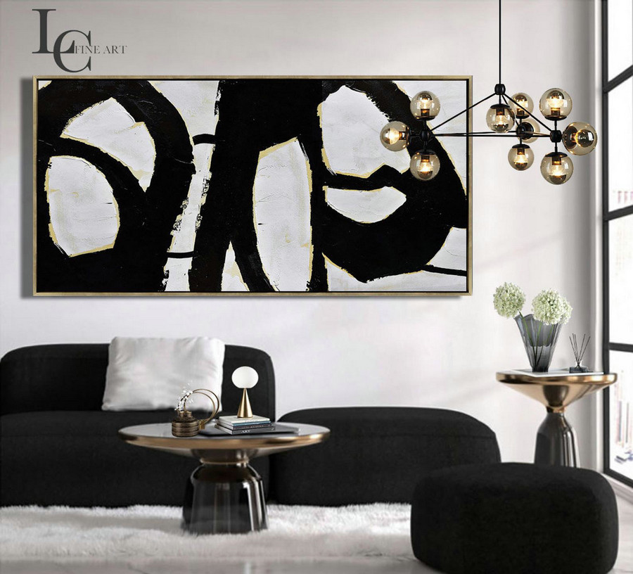 Extra Large Painting, Horizontal Wall Art, Minimalist Canvas Painting, Huge Abstract Art - #L190W