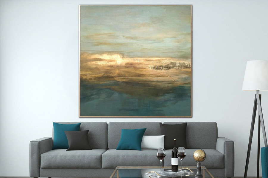 Seascape Art Abstract Painting Gold Leaf Contemporary Art Large Oil Paintings On Canvas Painting Texture Wall Art Office Painting Hand Art