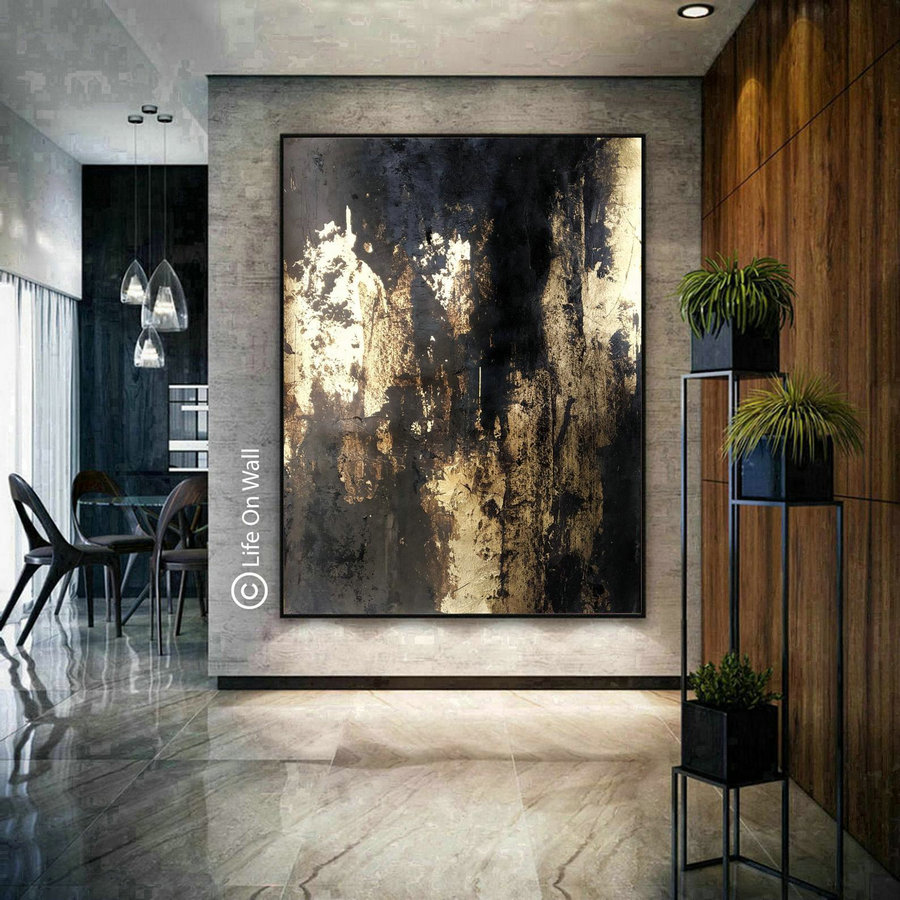 Oversize original abstract art gray black gold foil, vertical abstract painting,living room abstract art, bedroom abstract painting original