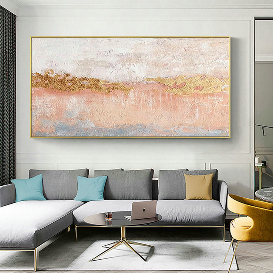 Large abstract painting on canvas gold abstract art canvas gold art painting abstract yellow painting peach pink painting oversize wall art