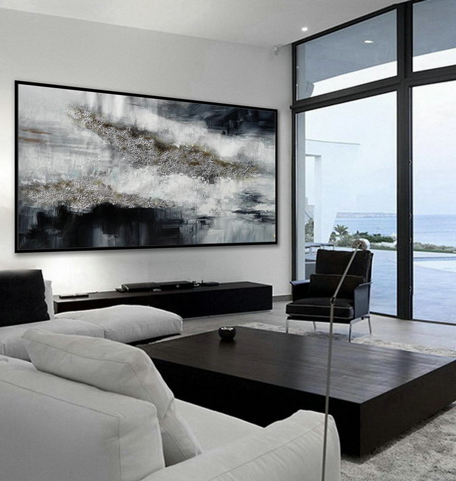 Extra Large Panoramic Textured Abstract Wall Art Oversize Texture Acrylic Painting on Canvas Painting Black Silver Artwork