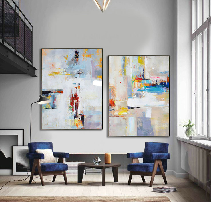 Set Of 2 Large Contemporary Painting, Abstract Canvas Art, Original Artwork, Blue, red, yellow, orange - By Leo