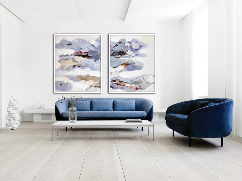 Set Of 2 Large Contemporary Painting, Abstract Canvas Art, Original Artwork by Biao, Blue, gray, brown, violet.