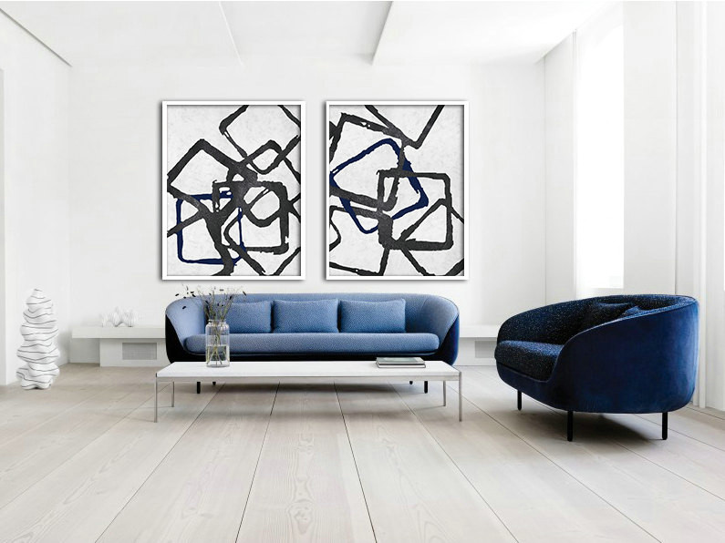 Set Of 2 Huge Contemporary Art Acrylic Painting On Canvas, Minimalist Canvas Wall Art, Geometrical Art, Navy blue, black.