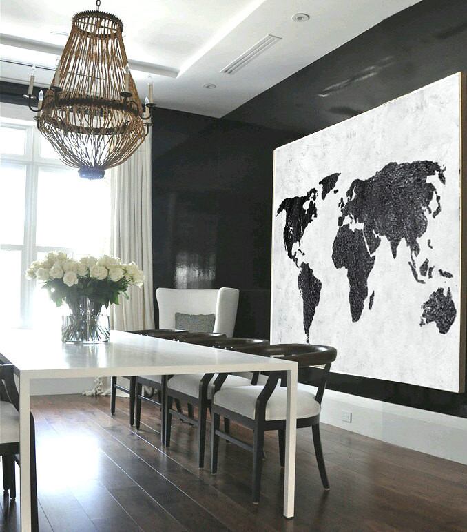 Large Abstract Painting, Hand Made Painting Minimalist Art, Horizontal Abstract Art On Canvas, Modern Art. Black And White Map.