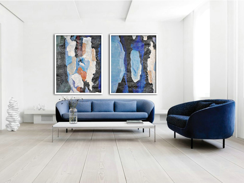 Set Of 2 Large Abstract Painting Canvas Art, Contemporary Art Wall Decor, Original Art, Hand paint. Blue, Green, black