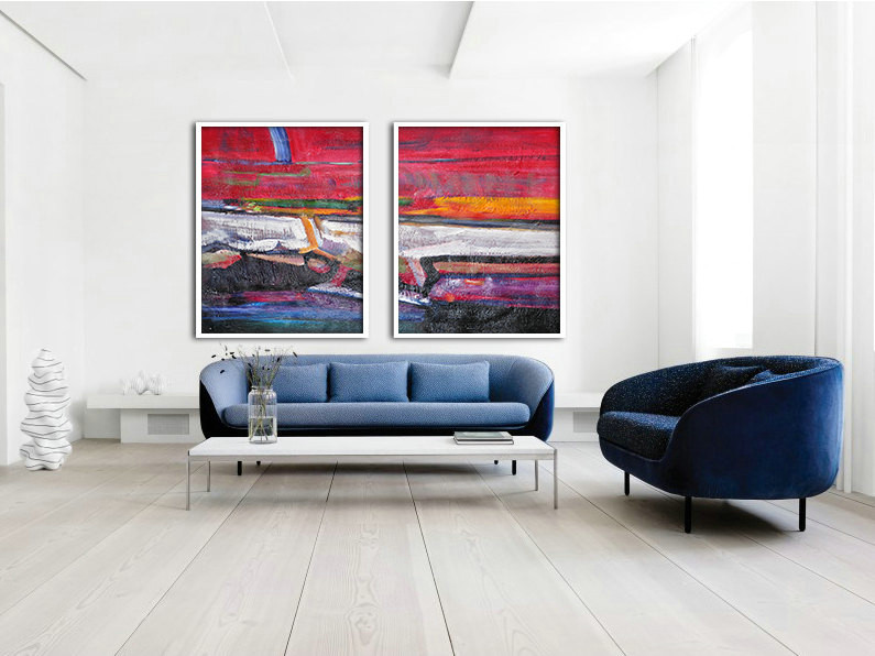 Set Of 2 Large Abstract Painting Canvas Art, Contemporary Art, Original Art by Biao. Red, blue, purple, yellow, green.