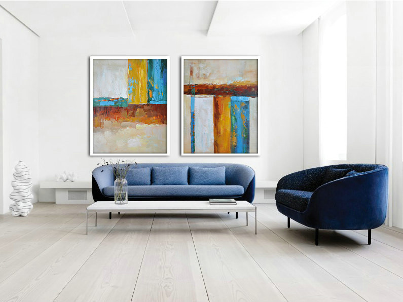 Set Of 2 Large Abstract Painting Canvas Art, Contemporary Art Original Art by Biao. Green, blue, brown, yellow - By Biao