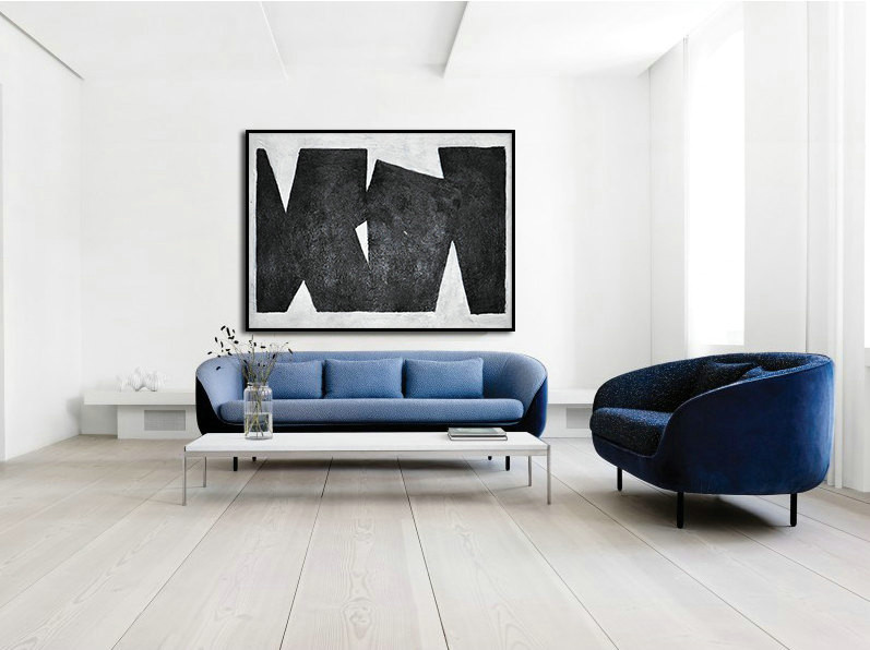 Black White Painting Minimalist Art, Large Canvas Art. Modern Geometric Art.