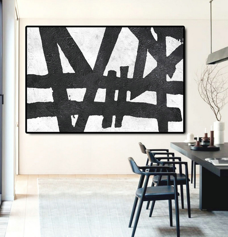 Hand Painted Extra Large Abstract Painting, Horizontal Acrylic Painting  Large Wall Art. Black White