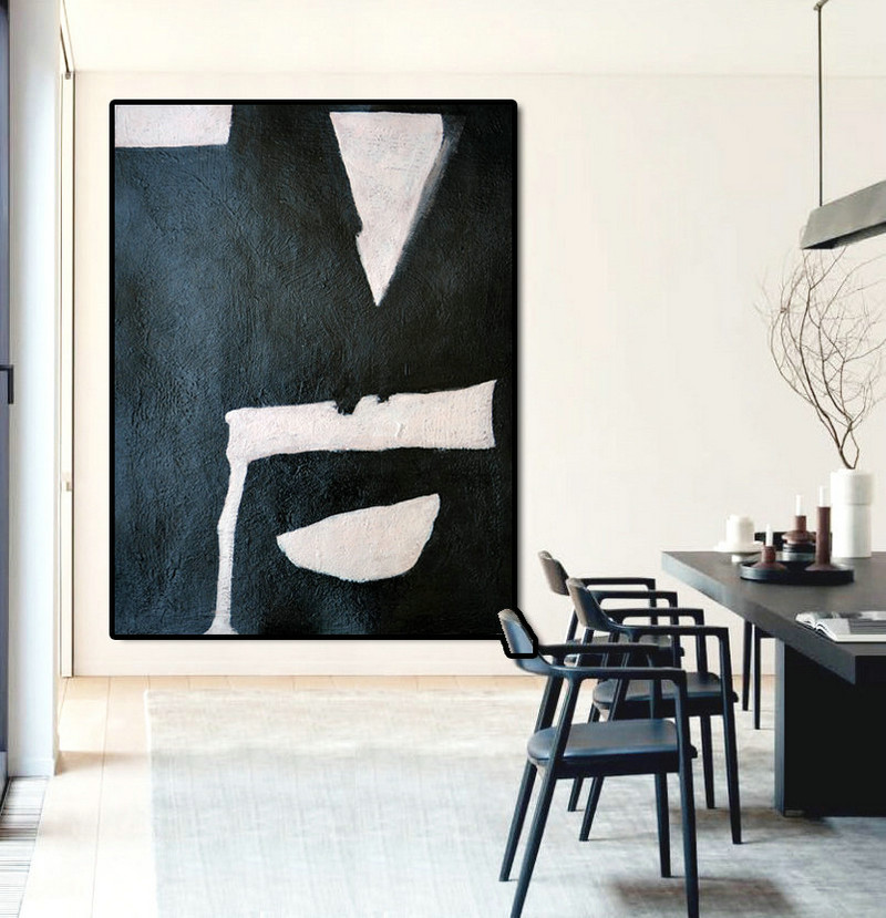 Black And Pink Painting Minimalist Art, Large Canvas Art. Modern Art Geometric Art.