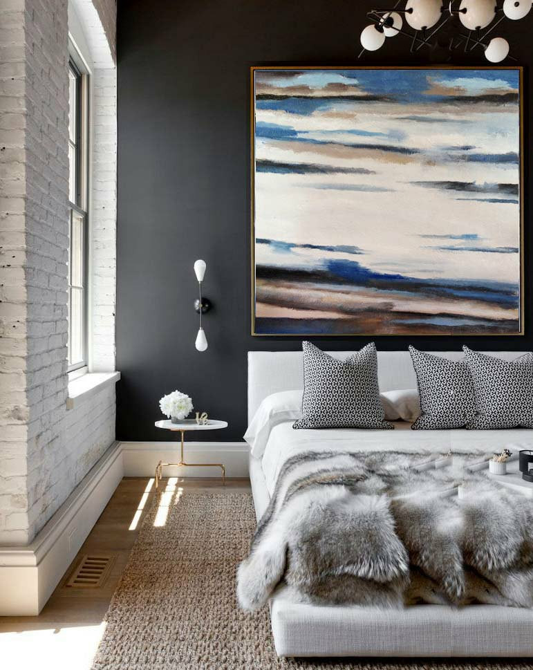 Original Art Extra Large Abstract Painting on Canvas, Landscape Painting Canvas Art, By Dao. Blue White Brown Black