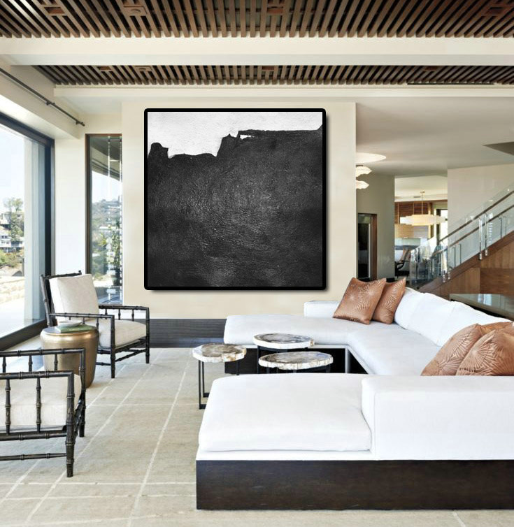 Original Artwork Extra Large Abstract Painting, Acrylic Painting Canvas Art Hand Painted Black And White Minimalst Painting.