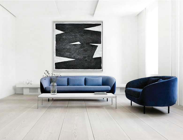 Original Artwork Extra Large Abstract Painting, Acrylic Painting Canvas Art, Black And White Minimalist Painting.