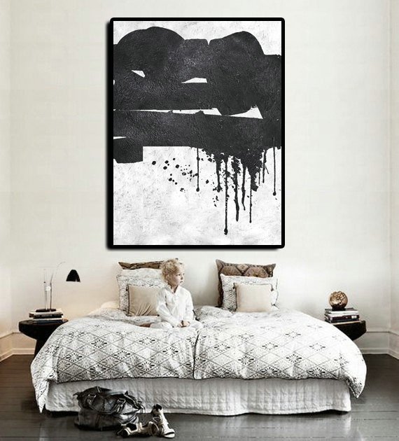 Extra Large Abstract Painting On Canvas, Textured Painting Canvas Art, Black And White Original Art Handmade
