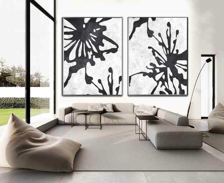 Set of 2 extra large contemporary art acrylic modern wall for Modern black and white wall art