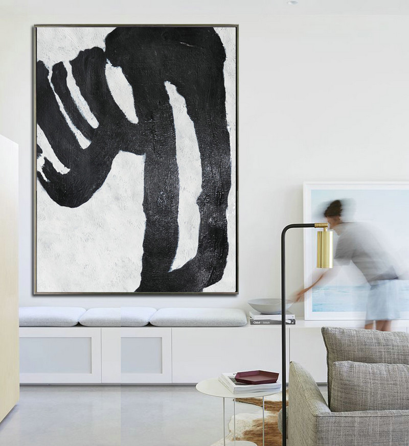 Oil Painting, Abstract Painting Large Canvas Art, Modern Art Black and White Minimalist Art. Hand Painted, Oil On Canvas.