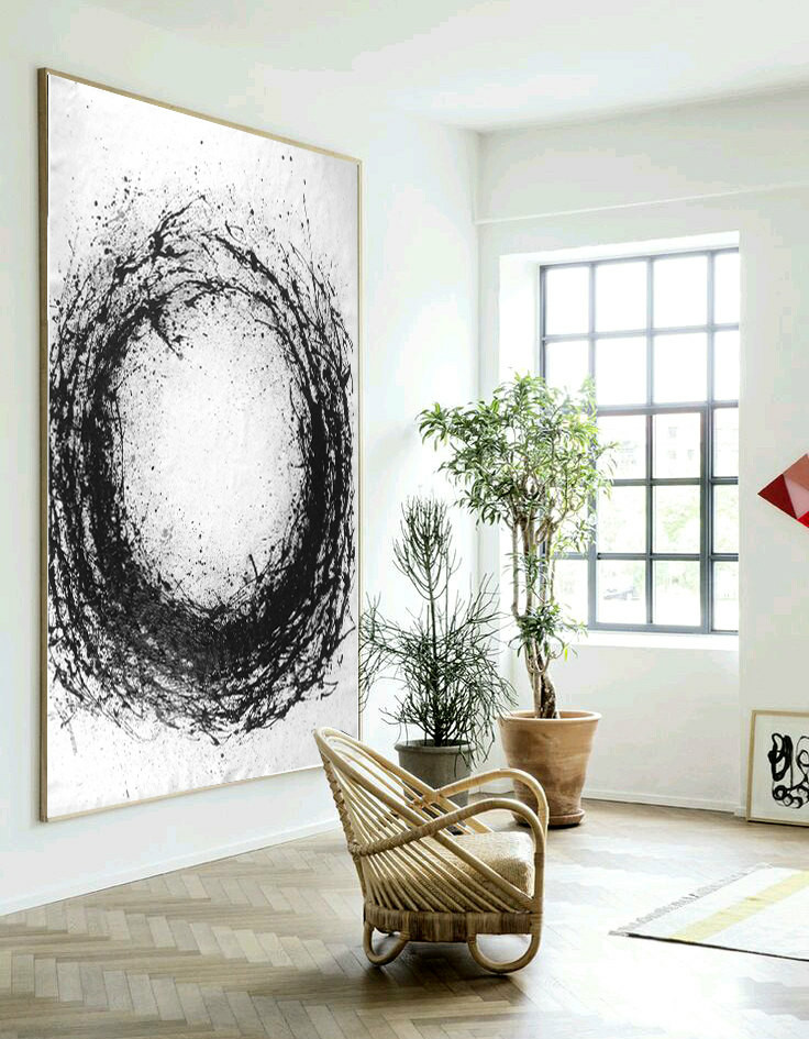 Large Abstract Art, Hand Made Acrylic Painting Minimalist Art, Abstract Painting On Canvas, Modern Art Circle. Black White