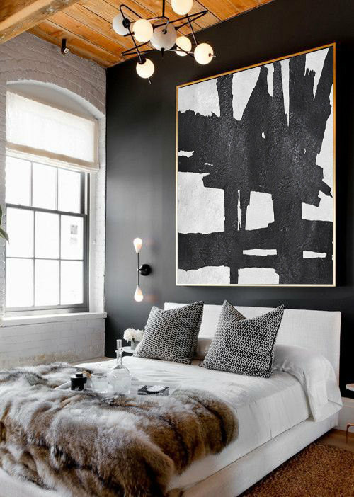 Original Art Large Abstract Painting, Acrylic Painting Canvas Art, Black And White Minimalst Painting.