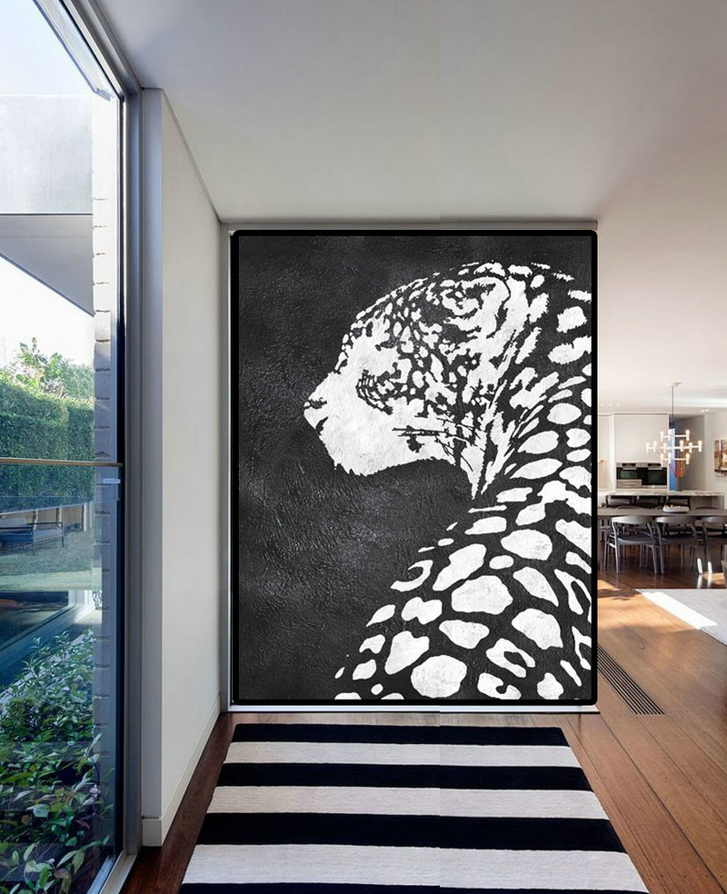 Extra Large Acrylic Painting On Canvas, Minimalist Painting Canvas Art, Black White Leopart Painting, Original Art.