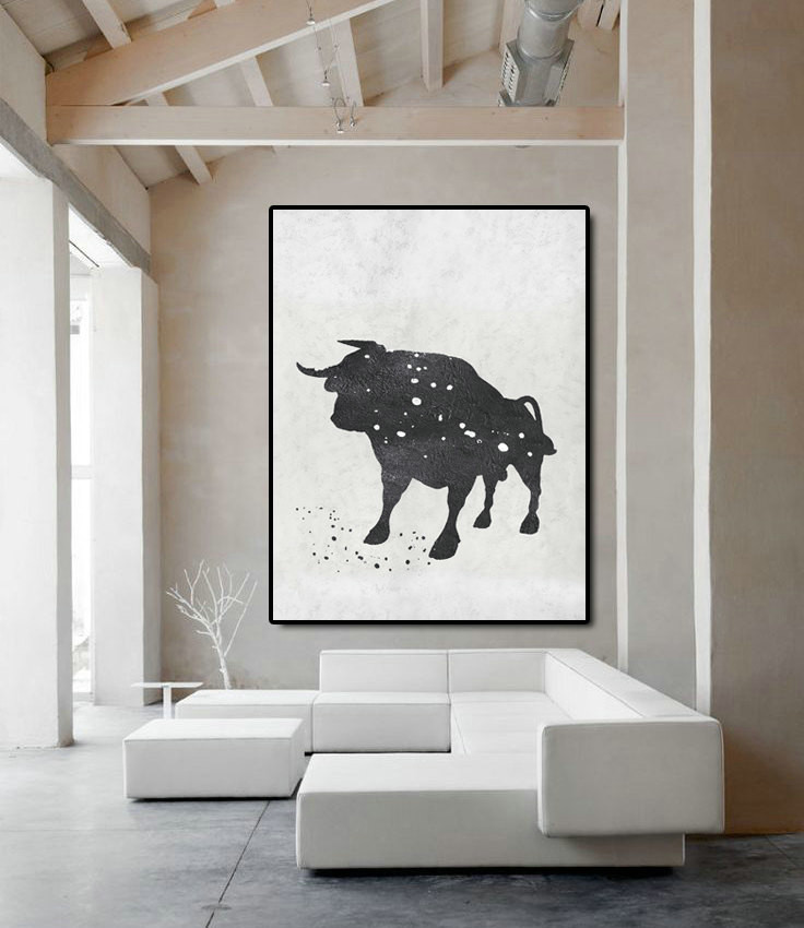 Extra Large Acrylic Painting On Canvas, Minimalist Painting Canvas Art, Black And White Bull, HAND PAINTED Original Art.