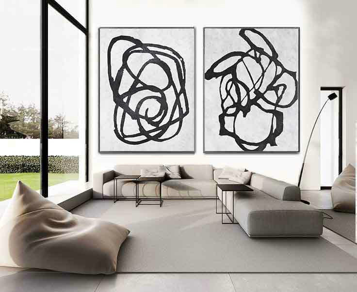 Set Of 2 Extra Large Acrylic Painting On Canvas, Minimalist Painting Canvas Art, Abstract Painting Wall Art, HANDMADE.