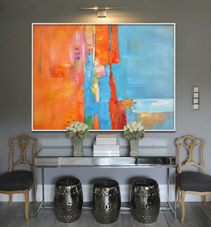 Large Painting, Original Art, Large Canvas Art. Contemporary Art, Modern Art Abstract Painting. Orange blue - By Biao