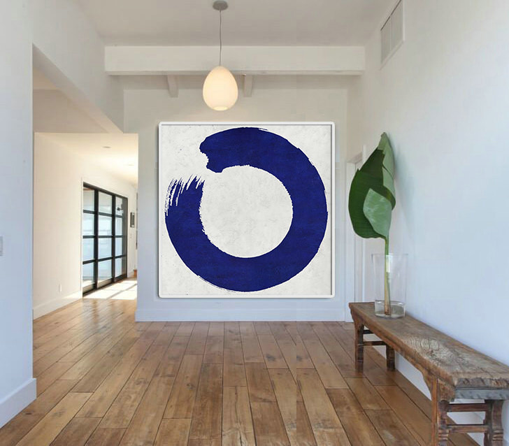 Hand Made Blue White Painting, Minimalist Abstract Art Canvas Art, Magic Circle, Large Wall Art Home Decor, Acrylic Painting On Canvas.