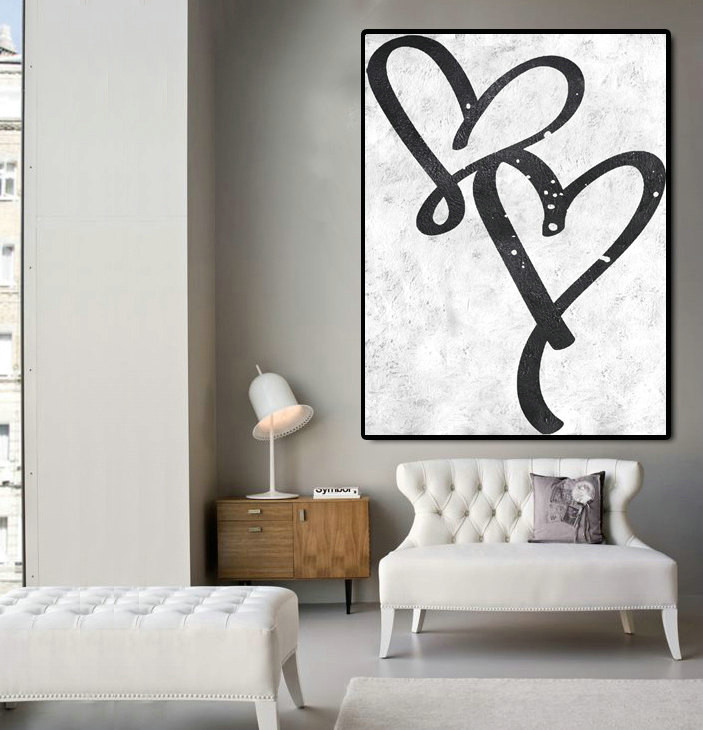 Hand Made Large Acrylic Painting On Canvas, Abstract Art, Love, Modern Painting Clean Looks, Black White Art.