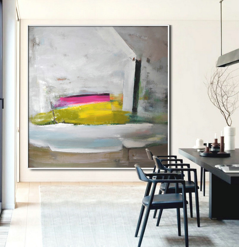 Abstract Painting Large Canvas Art, Contemporary Art Acrylic Painting, Hand Painted Abstract Art, yellow green, gray