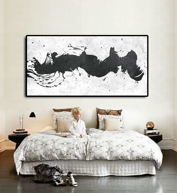 "Original Art Large Painting On Canvas, Minimalist Painting Black And White, Extra Large Canvas Art, Horizontal. 72""x36""."