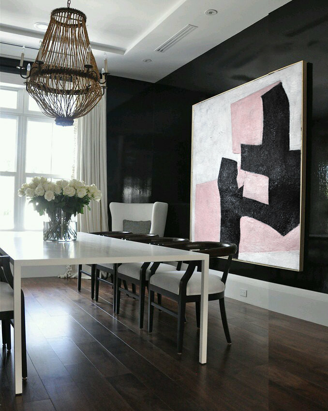 Black And Pink Painting Minimalist Art, Large Canvas Art. Abstract Painting, Modern Art Geometric Art. Acrylic Painting.