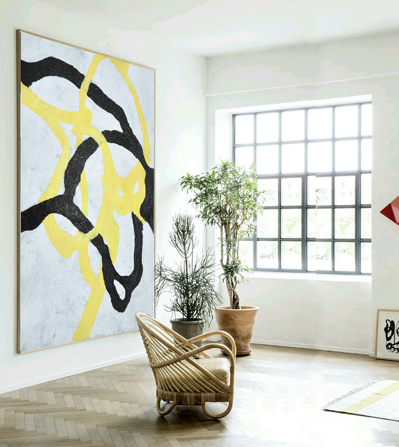 Large abstract art hand painted aclylic painting on canvas minimalist art black white yellow