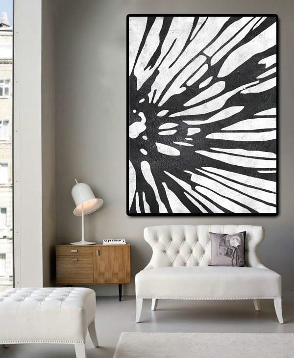 Huge Abstract Painting On Canvas, Vertical Canvas Painting, Extra Large Wall Art, Abstract Art Flower, Handmade