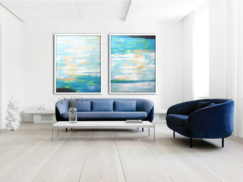 Set Of 2 Large Abstract Painting Canvas Art, Contemporary Art Wall Decor, Original Art by Biao, Green, yellow, blue