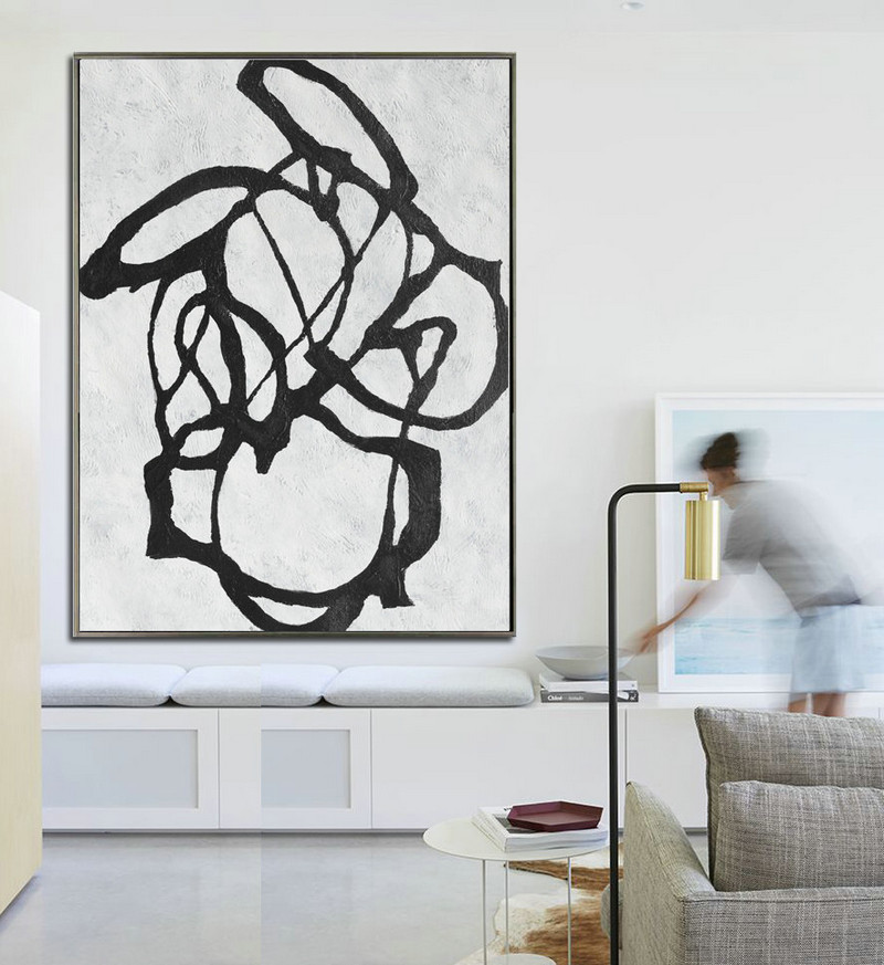 Large Abstract Art, Hanmade Painting Minimalist Art, Abstract Painting On Canvas, Geometric Art. Black White.