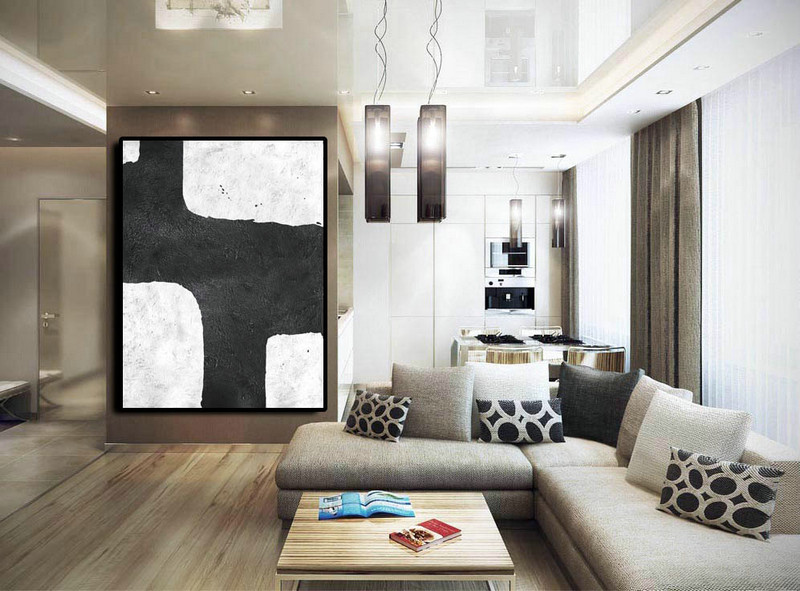 Extra Large Painting On Canvas, Textured Painting Canvas Art, Black And White Original Art.