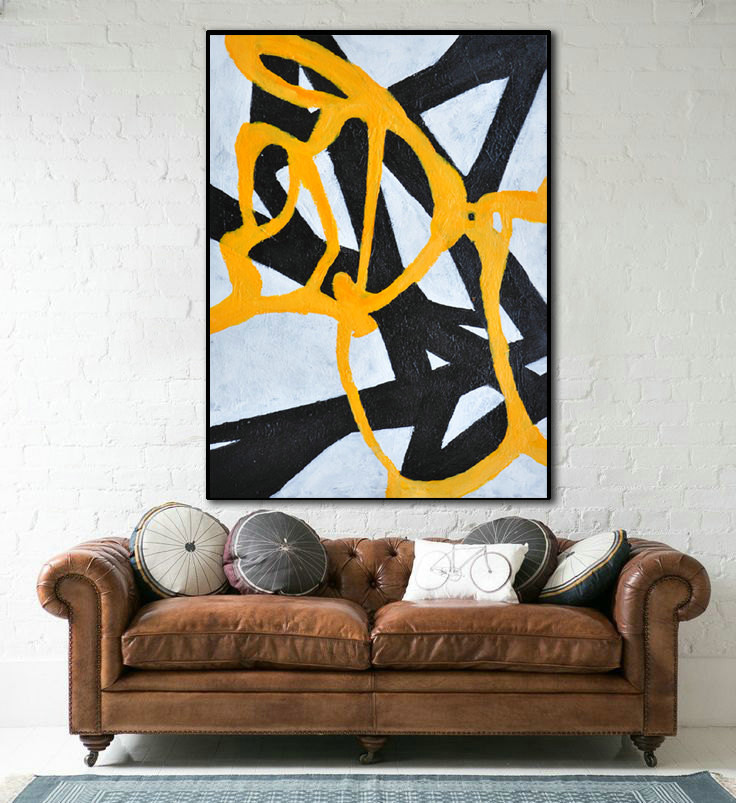 Original Painting Large Abstract Art, Hand Painted Aclylic Painting On Canvas Minimalist Art, Black White Yellow.