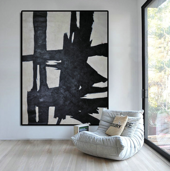 Hand Painted Extra Large Abstract Painting, Horizontal Acrylic Painting Large Wall Art. Black White Painting Original Art