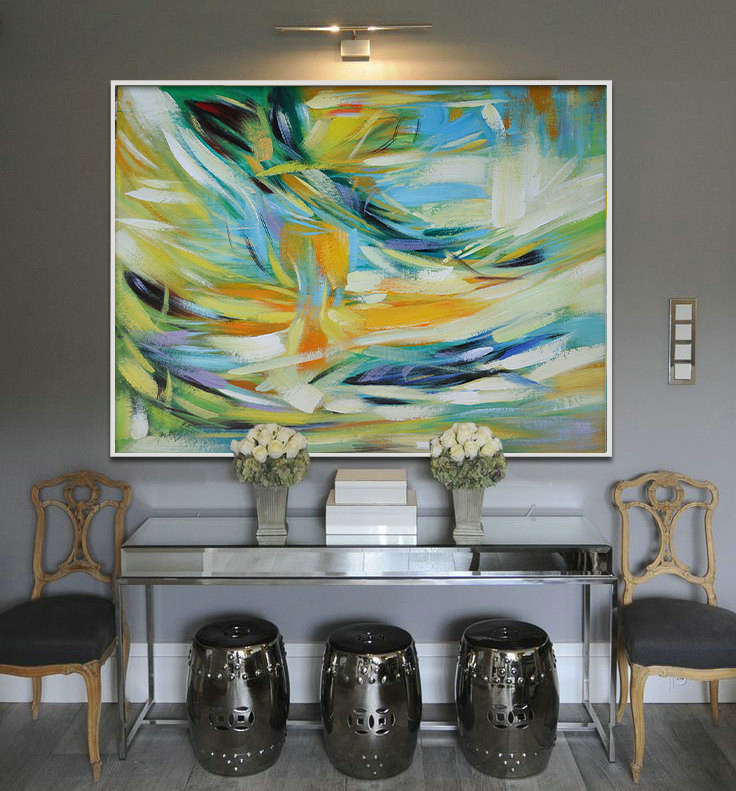 Large Painting, Original Art, Large Canvas Art. Contemporary Art, Abstract Painting. Green, yellow, blue - By Biao.