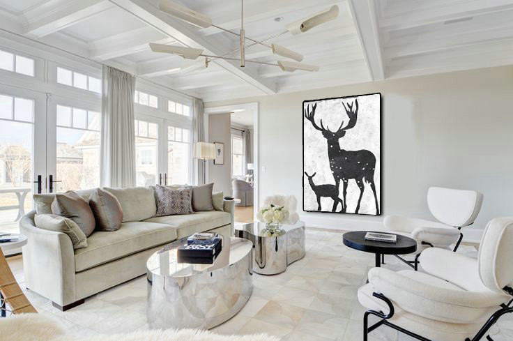 Extra Large Acrylic Painting On Canvas, Minimalist Painting Canvas Art, Black And White Deers, HAND PAINTED Original Art